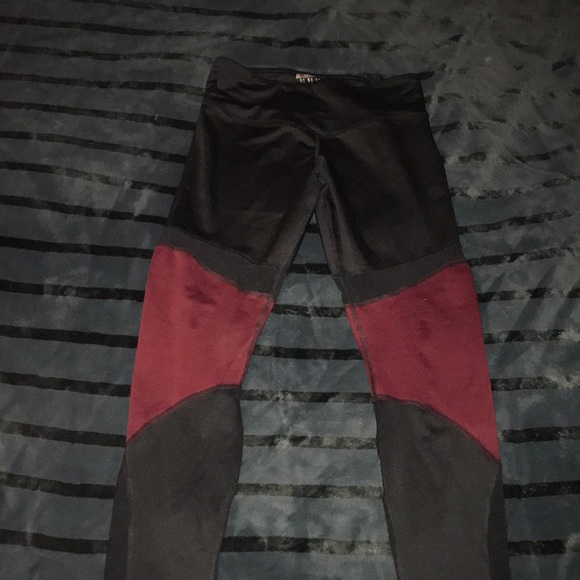 Forever 21 Pants - Black and maroon workout leggings with mesh detail